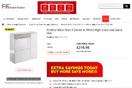 Portino Wide Shoe Cabinet In White High Gloss And Sand Oak RRP £350