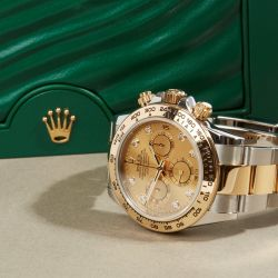 Luxury Watches I Free UK Delivery & Warranty I Featuring a Rolex Daytona 116503 Men Yellow Gold & Stainless Steel Diamond Chronograph Watch.