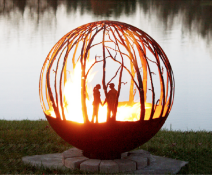 Love Birds - Steel Fire Pit Sphere