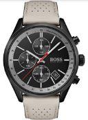 Hugo Boss 1513562 Men's Grand Prix Beige Leather Strap Quartz Chronograph Watch