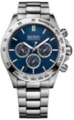 Hugo Boss 1512963 Men's Ikon Blue Dial Silver Bracelet Chronograph Watch