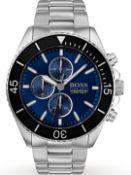 Hugo Boss 1513704 Men's Ocean Edition Blue Dial Silver Bracelet Chronograph Watch