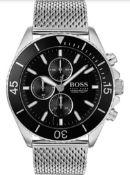 Hugo Boss 1513701 Men's Ocean Edition Black Dial Silver Mesh Band Chronograph Watch