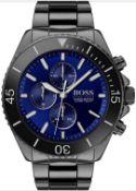 Hugo Boss 1513743 Men's Ocean Edition Blue Dial Gunmetal Grey Bracelet Quartz Watch