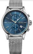 Hugo Boss 1513441 Men's Jet Blue Dial Silver Mesh Band Chronograph Watch