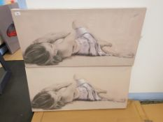 2 X Girl In Silk Prints On Canvas 1000 X 500mm