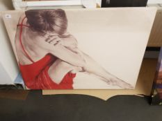 Sad Lady In Red Print On Canvas. 1000 X 700mm
