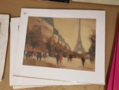 4 X Time Out In Paris Prints By Jon Barker. 500 X 400mm
