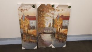 3 X Riverside Florals Hand Painted Canvas (300 X 900 X 30mm)
