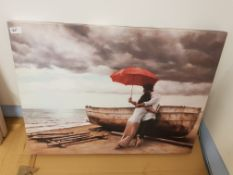 Lovers By The Boat Print On Canvas 800 X 600mm