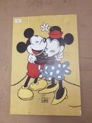 Micky & Mini Mouse True Love Print On Wood 400 X 590mm