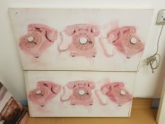 2 x Pink Phones Print On Canvas. 1000 X 500mm