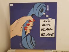 Blah Ð Blah Ð Blah Ð Blah Print On Canvas. 600 X 600mm