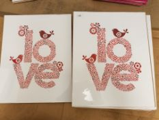 2 X 'Love' Bird / Flower Prints 500 X 400mm