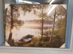 Boats By The Lake Print On Canvas 700X 500mm