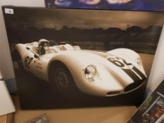 William 'Archie' Scott Brown Racing Driver (In A 'Lister?) Print On Canvas. 800 X 600mm