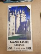 Glamis Castle Kirriemuir LMS LNER Print On Wood 400 X 760mm