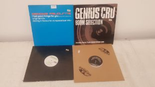 """4 X 12"""" Vinyl. 1 X Daddy's Favourite I Feel Good Things For You, 1 X Genius Cru Boom Selection."""