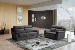 EDINA Italian Leather 3 & 2 Seat Sofa - Dark Grey Grigio RRP £3399
