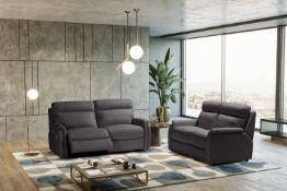 FOX Italian Leather Recliner 3 & 2 Seat Sofa - Dark Grey Grigio RRP £4800