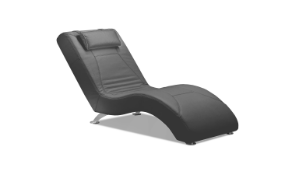 'WAVE' Italian Crafted Chaise Chair in Dark Grey Italian Leather. RRP £1399