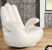SOSIA 'The Hand' Italian Leather Chair in White Leather RRP £1699