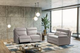 FOX Italian Leather Recliner 3 & 2 Seat Sofa by Galieri - Cenere Light Grey