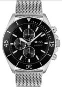 Hugo Boss 1513701 Men's Ocean Edition Silver Mesh Band Quartz Chronograph Watch