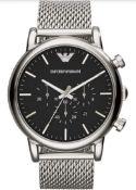 Emporio Armani AR1808 Men's Luigi Silver Mesh Band Chronograph Watch