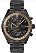 Hugo Boss 1513578 Men's Grand Prix Black Stainless Steel Bracelet Chronograph Watch
