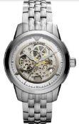 Emporio Armani AR4626 Men's Meccanico Silver Bracelet Watch