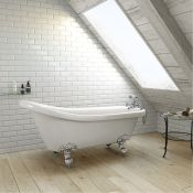 New (H4) 1530mm Traditional Roll Top Slipper Bath - Chrome Feet. RRP £999.99. Bath Manufactur...New