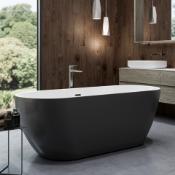 New (J2) 1655x740mm Round Double Ended Black Freestanding Bath. Rrp £2,337.Elegant, Contempor...