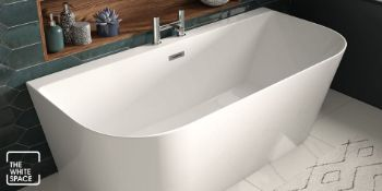 New (J1) 1500x750mm Modern Freestanding D Shape Bath. Rrp £1,401.99. White Acrylic Finish Supp...