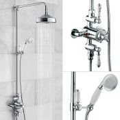 New (J8) Edwardian Dual Traditional Thermostatic Shower Mixer + Rigid Riser + Diverter. The Sol...