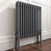 New & Boxed 600x600mm Anthracite Double Panel Horizontal Colosseum Traditional Radiator. RRP...