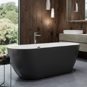 New (K1) 1655x740mm Round Double Ended Black Freestanding Bath. RRP £2,337.Elegant, Contempor...