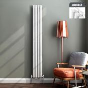 New Boxed 1800x360mm Gloss White Double Oval Tube Vertical Radiator. Sah6/1800Dw. RRP £404.99....