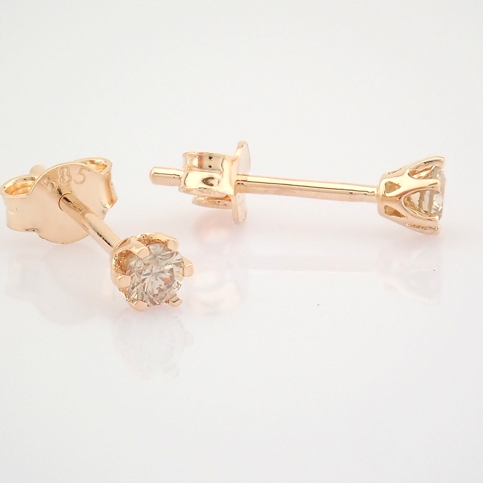 14 Rose/Pink Gold Diamond Solitaire Earring - Image 6 of 8