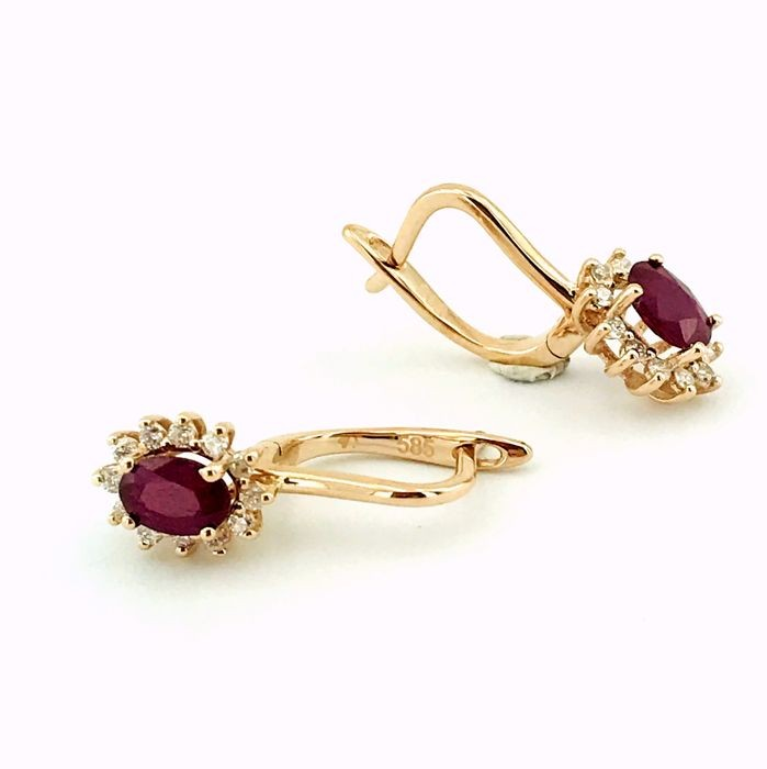 14K Pink Gold Cluster Earring , Natural Ruby and Diamond - Image 7 of 7