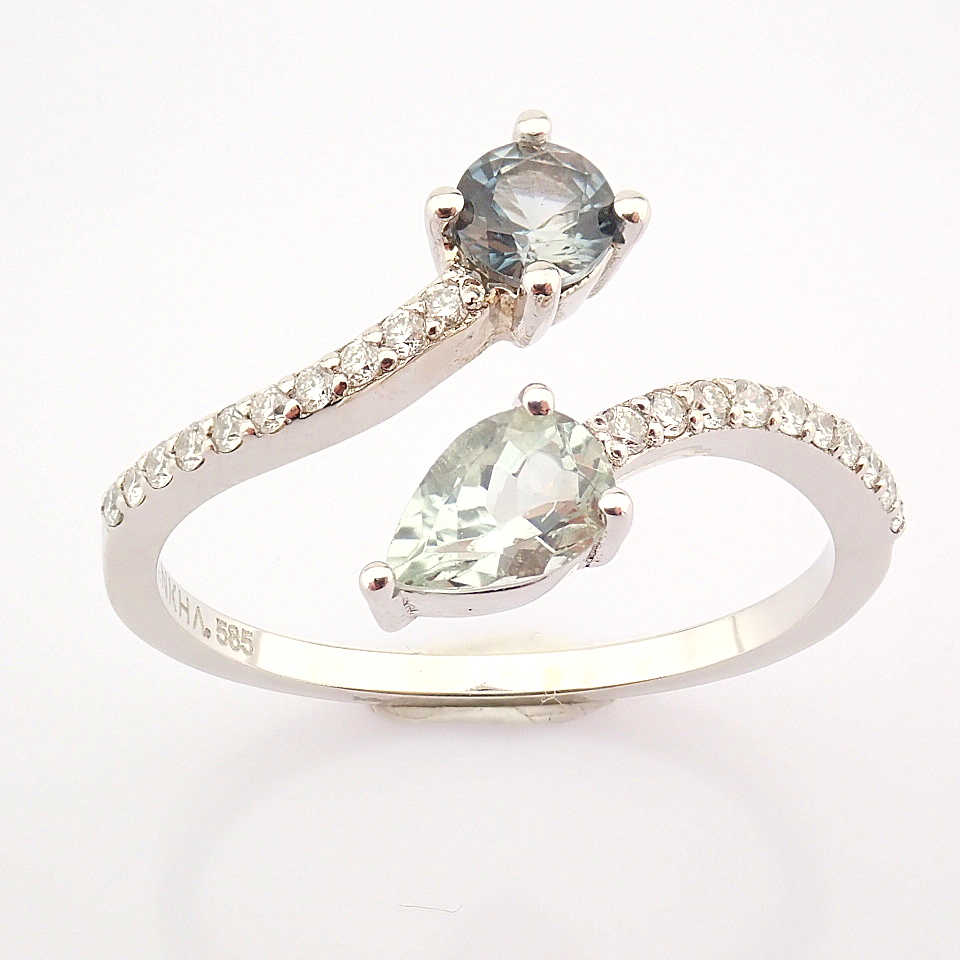 14K White Gold Diamond & Tourmaline Ring - Image 6 of 6