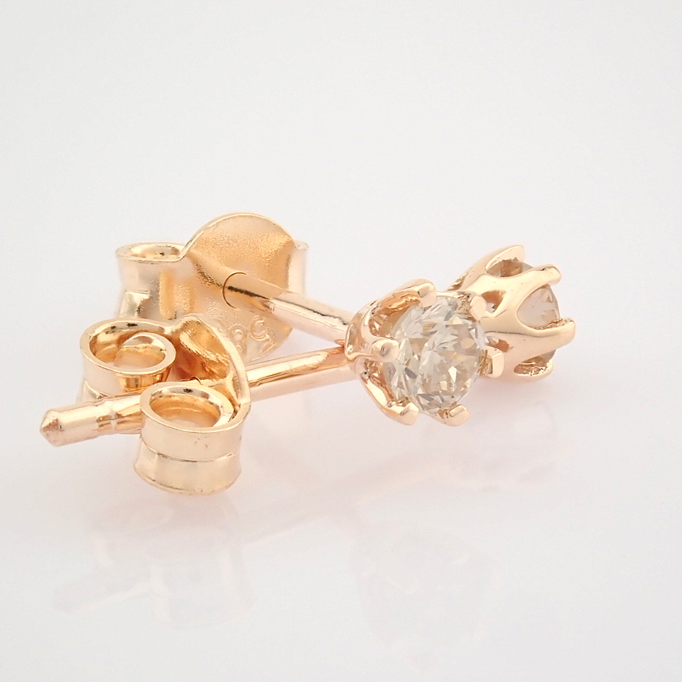 14 Rose/Pink Gold Diamond Solitaire Earring - Image 5 of 8