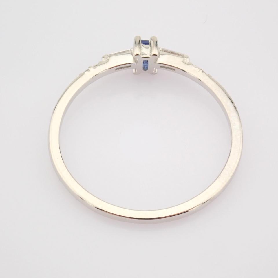 14K White Gold Diamond & Sapphire Ring - Image 8 of 10