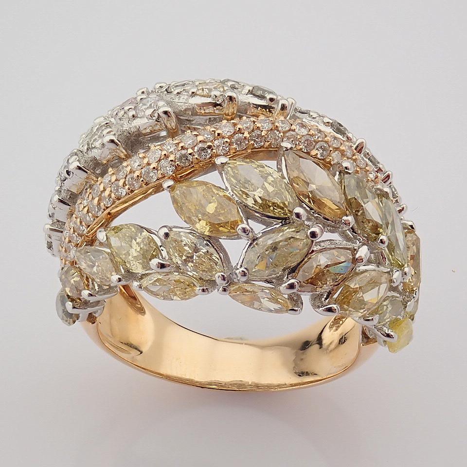 18K Rose Gold Ring- Total 4,31 Ct. Diamond - Image 3 of 8