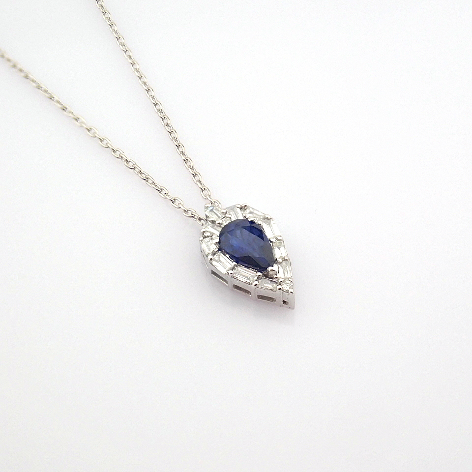 14K White Gold Diamond & Sapphire Necklace - Image 8 of 8