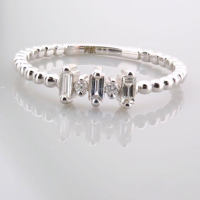14 kt. White gold - Ring - 0.12 Ct. Diamond - Image 3 of 13