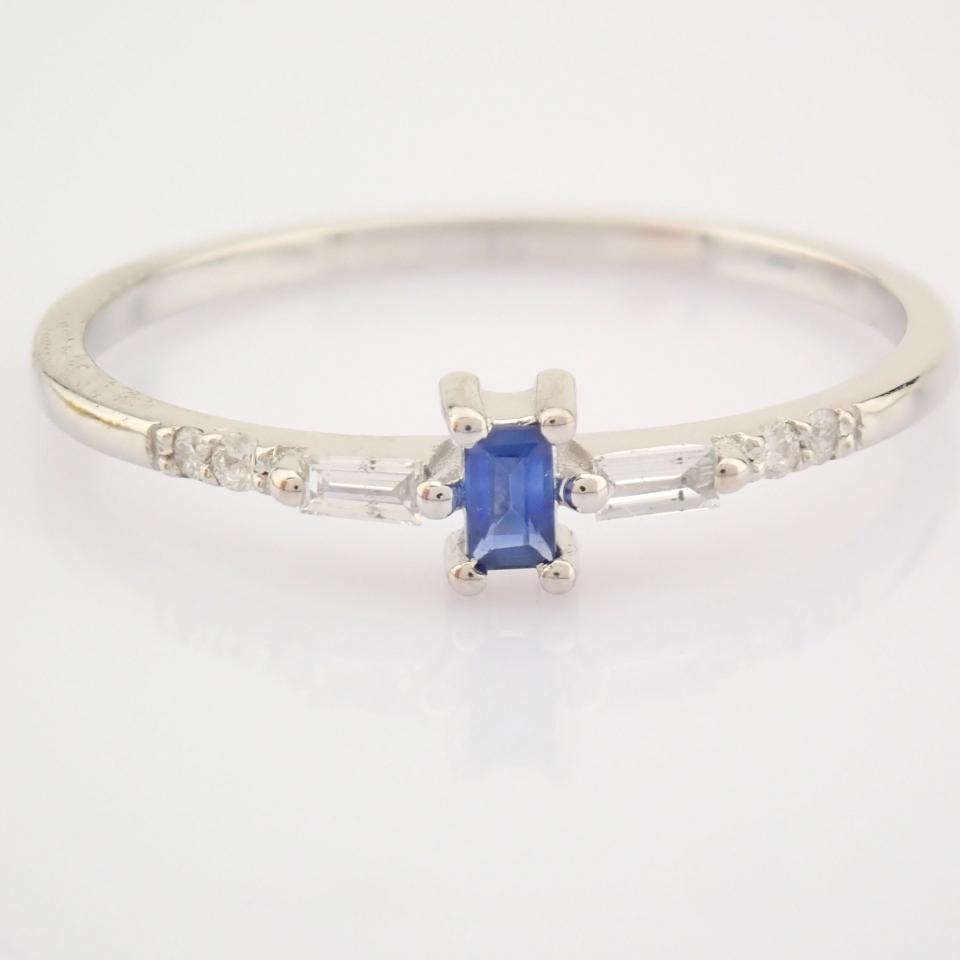 14K White Gold Diamond & Sapphire Ring - Image 10 of 10