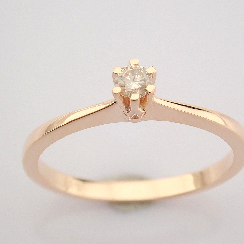 14 Rose/Pink Gold Diamond Solitaire Ring - Image 8 of 8