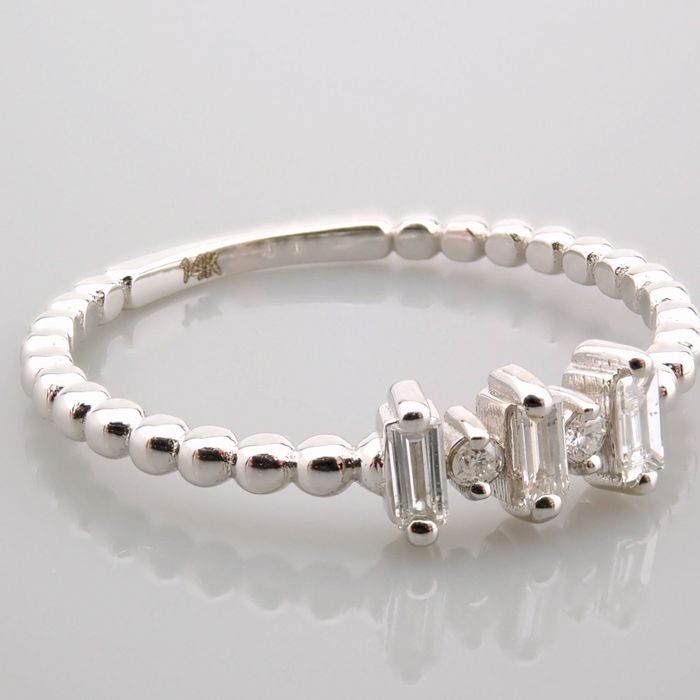 14 kt. White gold - Ring - 0.12 Ct. Diamond - Image 7 of 13