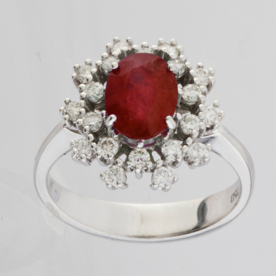 18K White Gold Ruby Cluster Ring Total 1.45 Ct.